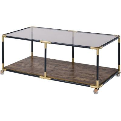Heleris Black and Gold with Glass Coffee Table