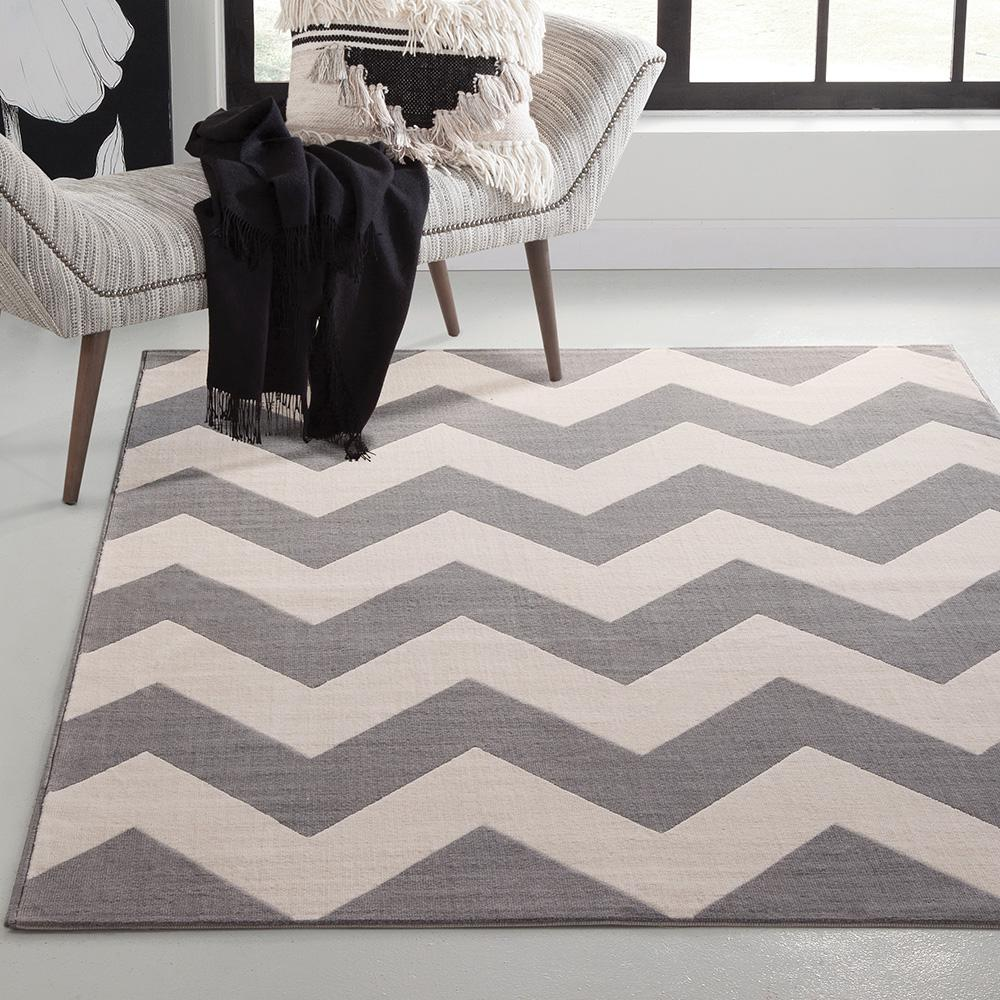 Unbranded Broadway Chevron Stripe Grey And Ivory 5 Ft X 8 Area Rug