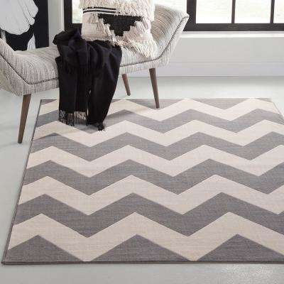 Broadway Chevron Stripe Grey and Ivory 5 ft. x 8 ft. Area Rug