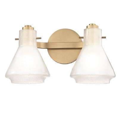 Rosie 2-Light Aged Brass Bath Light with Clear Glass Outside Etched Glass Inside