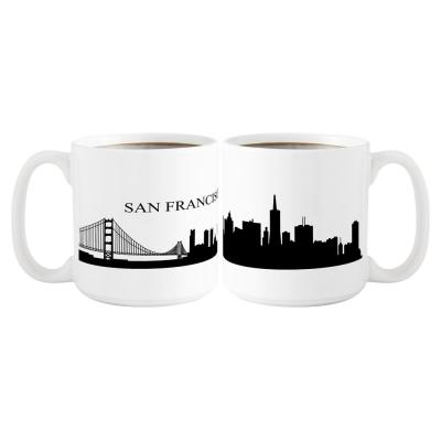 San Francisco Skyline 20 oz. White Ceramic Coffee Mugs (Set of 2)