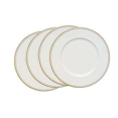 White Melamine Charger Plates with Gold Rim (4-Pack)
