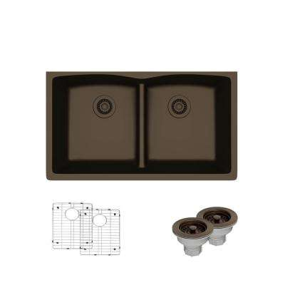 Undermount Composite Granite 33 in. Double Bowl Kitchen Sink in Umber