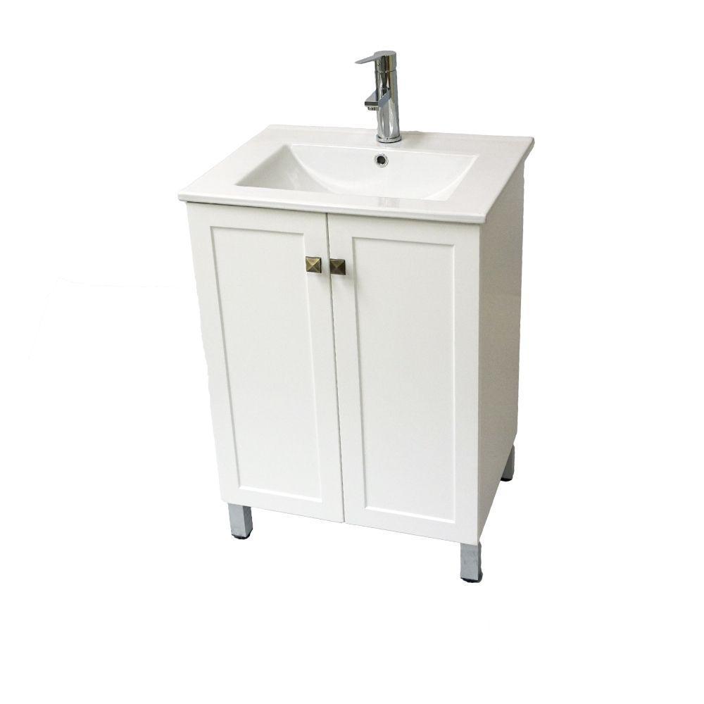 24 in. W x 18 in. D x 33 in. H Vanity in White Wood Finish with Ceramic Vanity Top