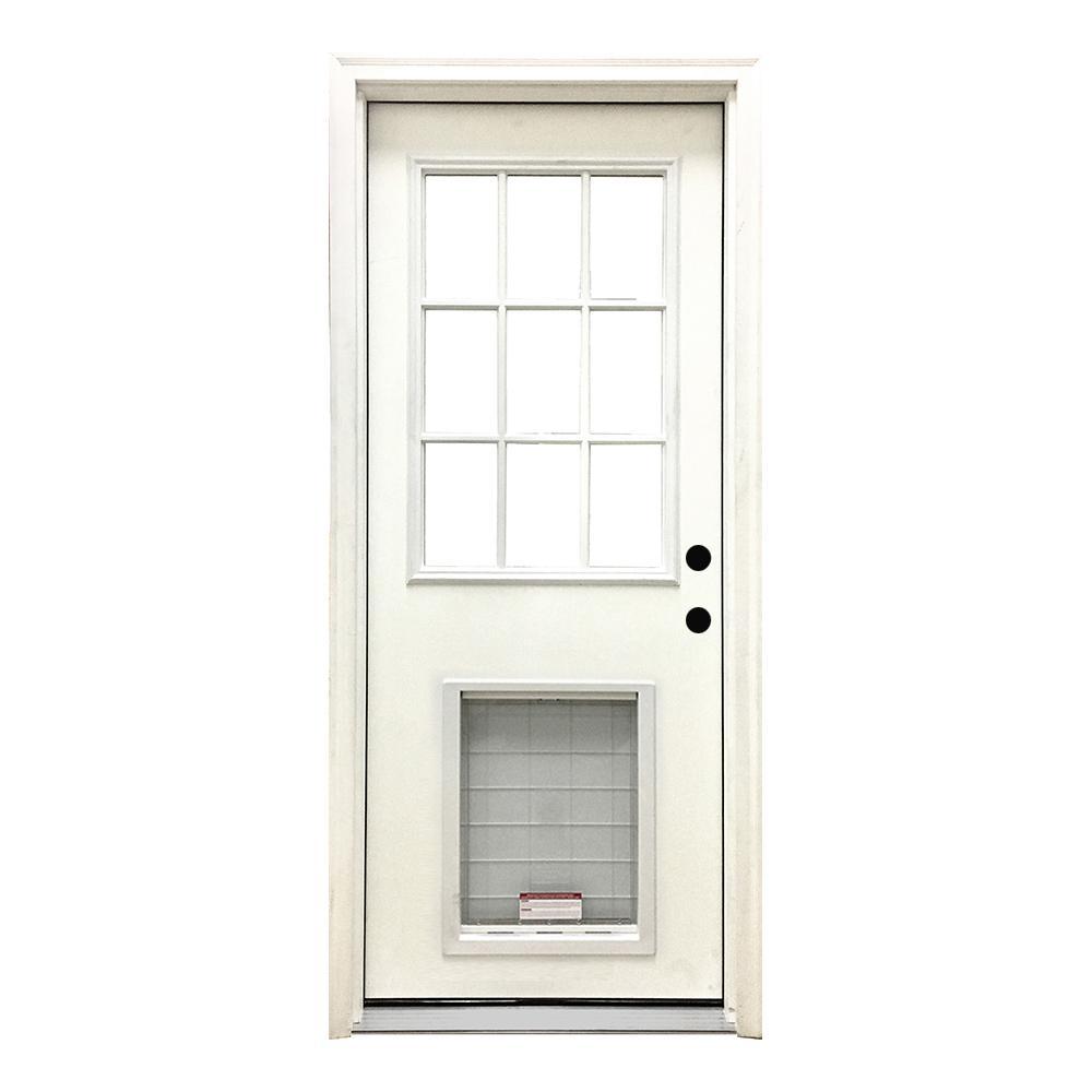32 in. x 80 in. Classic 9 Lite LHIS White Primed Textured Fiberglass Prehung Front Door with SL Pet Door