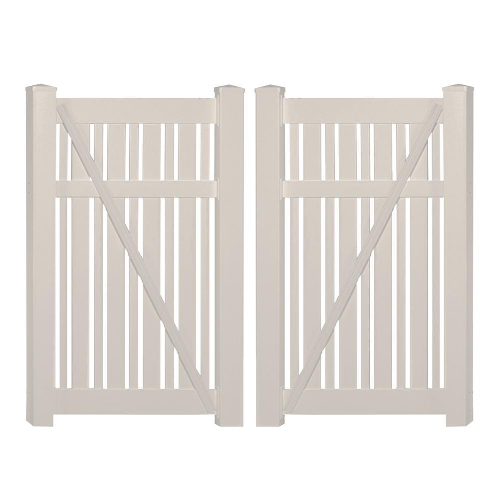 Davenport 7.8 ft. x 6 ft. Tan Vinyl Semi-Privacy Fence Gate