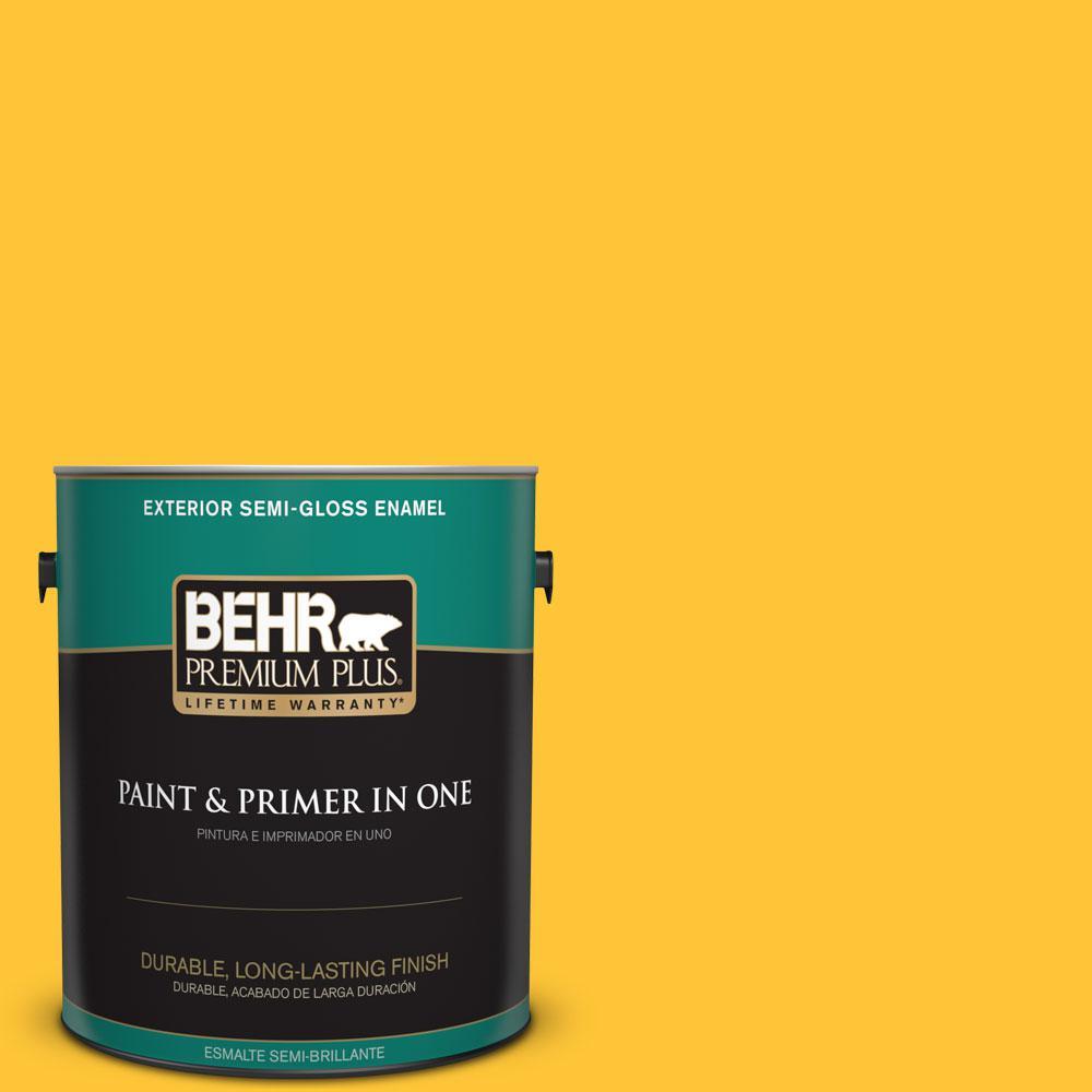 BEHR Premium Plus 1-gal. #330B-7 Sunflower Semi-Gloss Enamel Exterior Paint