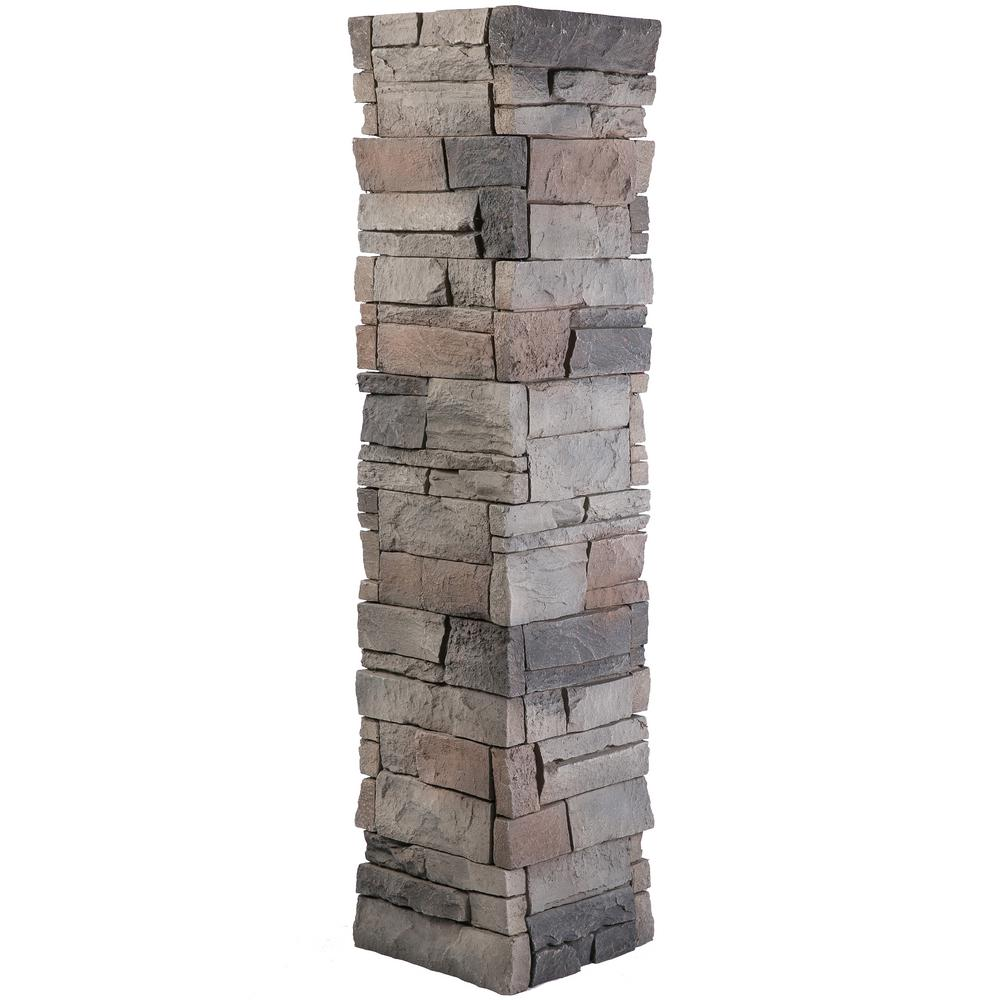 Grey Stone Pillars : Genstone stacked stone in kenai faux