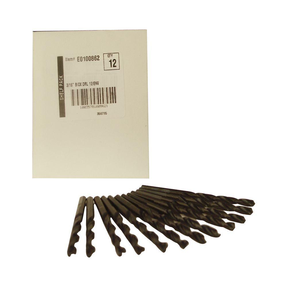 3/16 in. Diameter Black Oxide Jobber Length Drill Bit (12-Pack)
