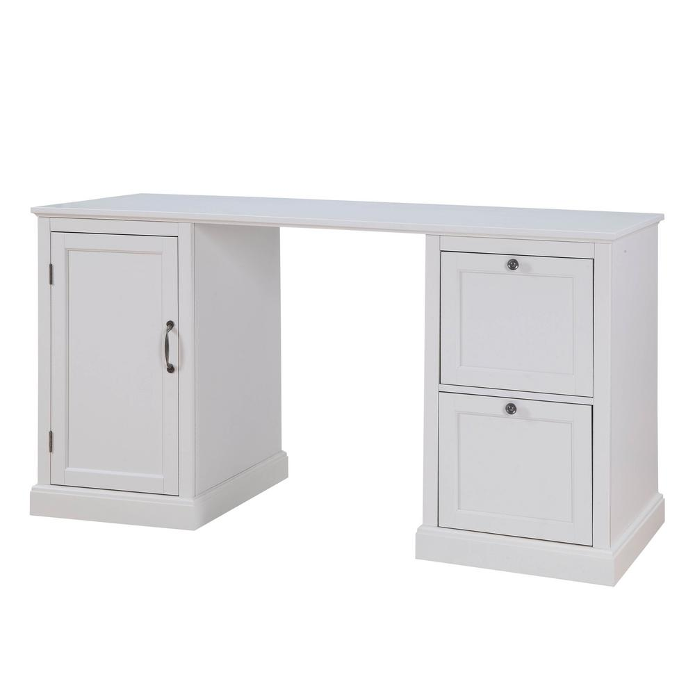 USL Arbor 2-Drawer White Desk-SK19277B1-PW