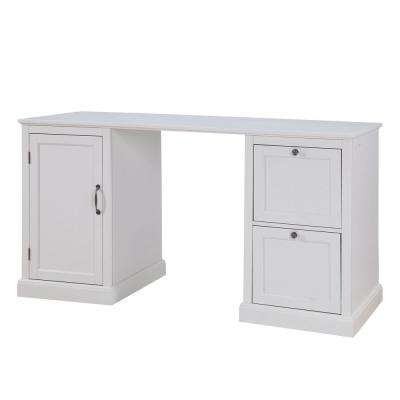 Arbor 2-Drawer White Desk