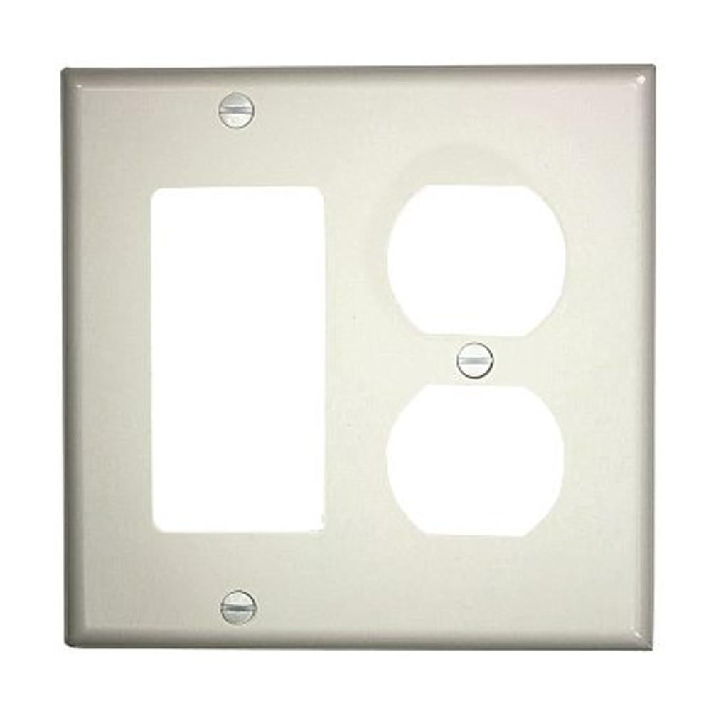 Leviton 2 gang standard size 1 duplex receptacle 1 decora for White wall combination