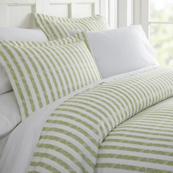 Becky Cameron Rugged Stripes Patterned Performance Sage Queen 3-Piece Duvet Cover Set