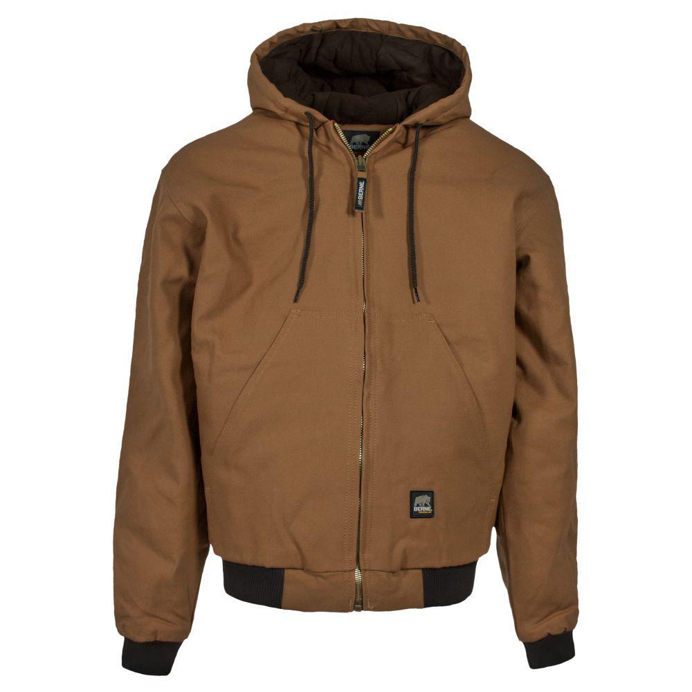 Berne Men's Medium Brown Duck Original Hooded Jacket