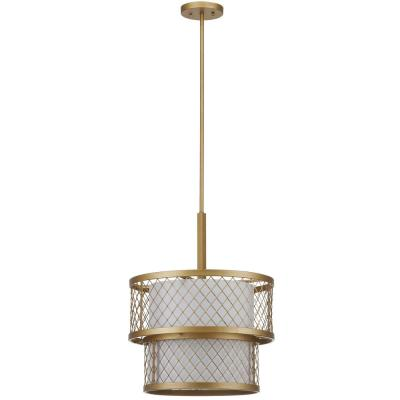 Evie Mesh 6-Light Antique Gold Mesh Pendant with Off-White Shade