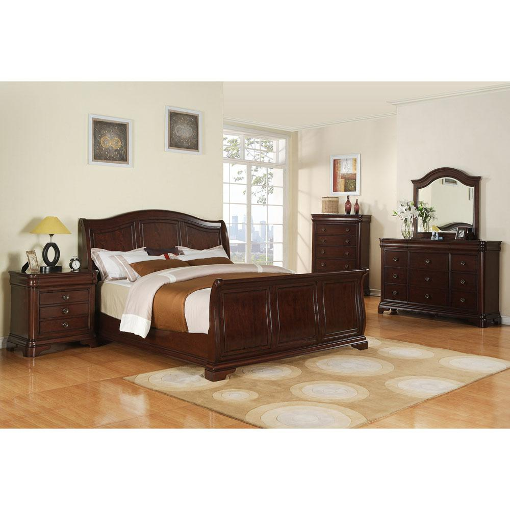 Corolla 5-Piece Bedroom Suite (King Bed, Dresser, Mirror, Chest and Nightstand)