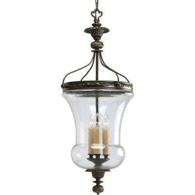 Fiorentino Collection 3-Light Forged Bronze Foyer Pendant with Clear Seeded Glass