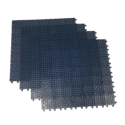 Blue Regenerated 22 in. x 22 in. Polypropylene Interlocking Floor Mat System (Set of 4 Tiles)
