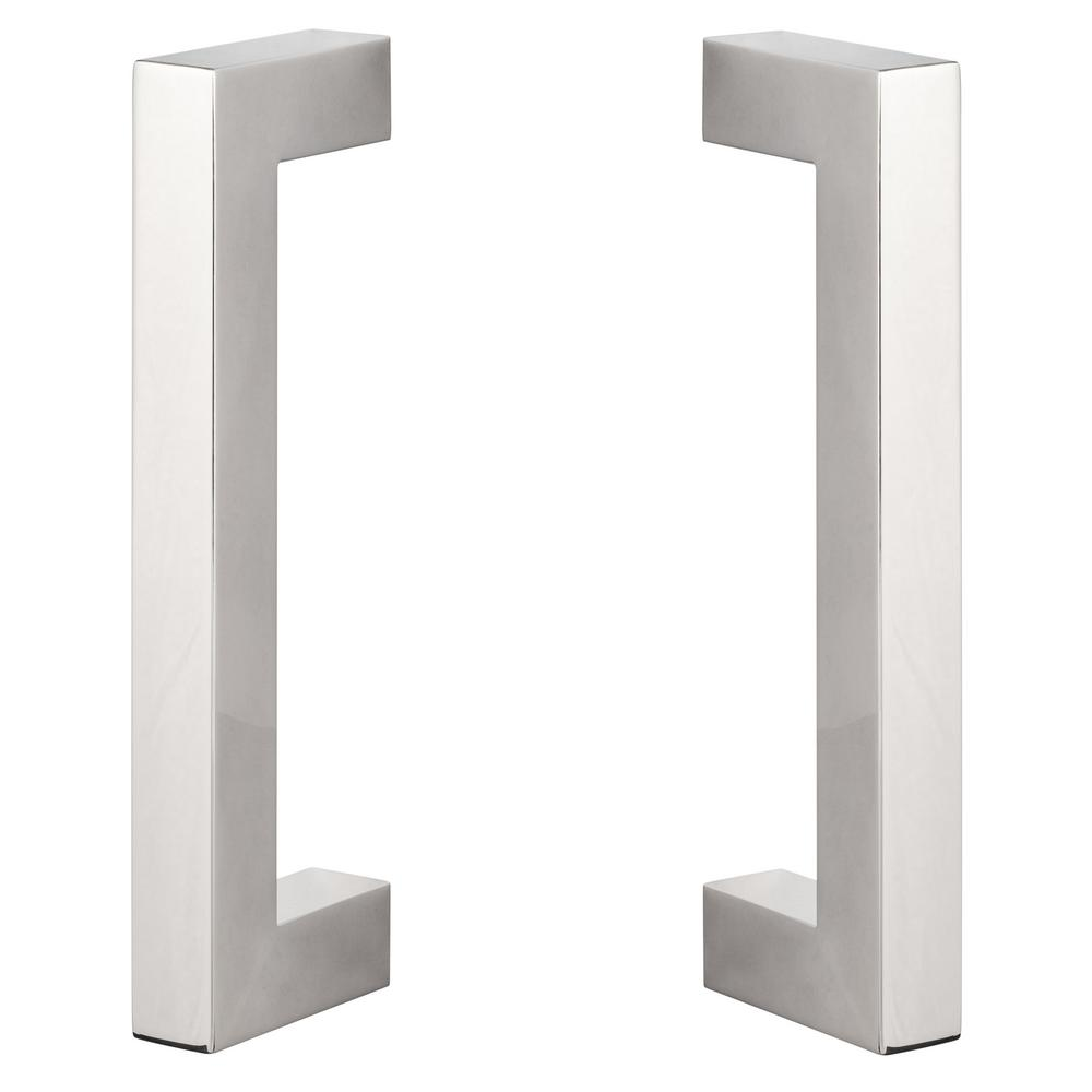 Reviews For Sure Loc Hardware 9in Polished Chrome Sliding Door Modern Double Sided Square Barn Door Handle Barn Sq2 26 The Home Depot