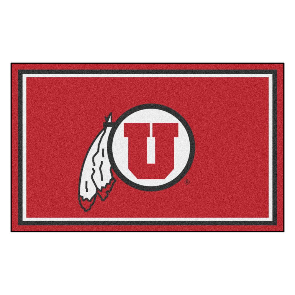 Fanmats Ncaa University Of Utah Red 6 Ft X 4 Indoor Area
