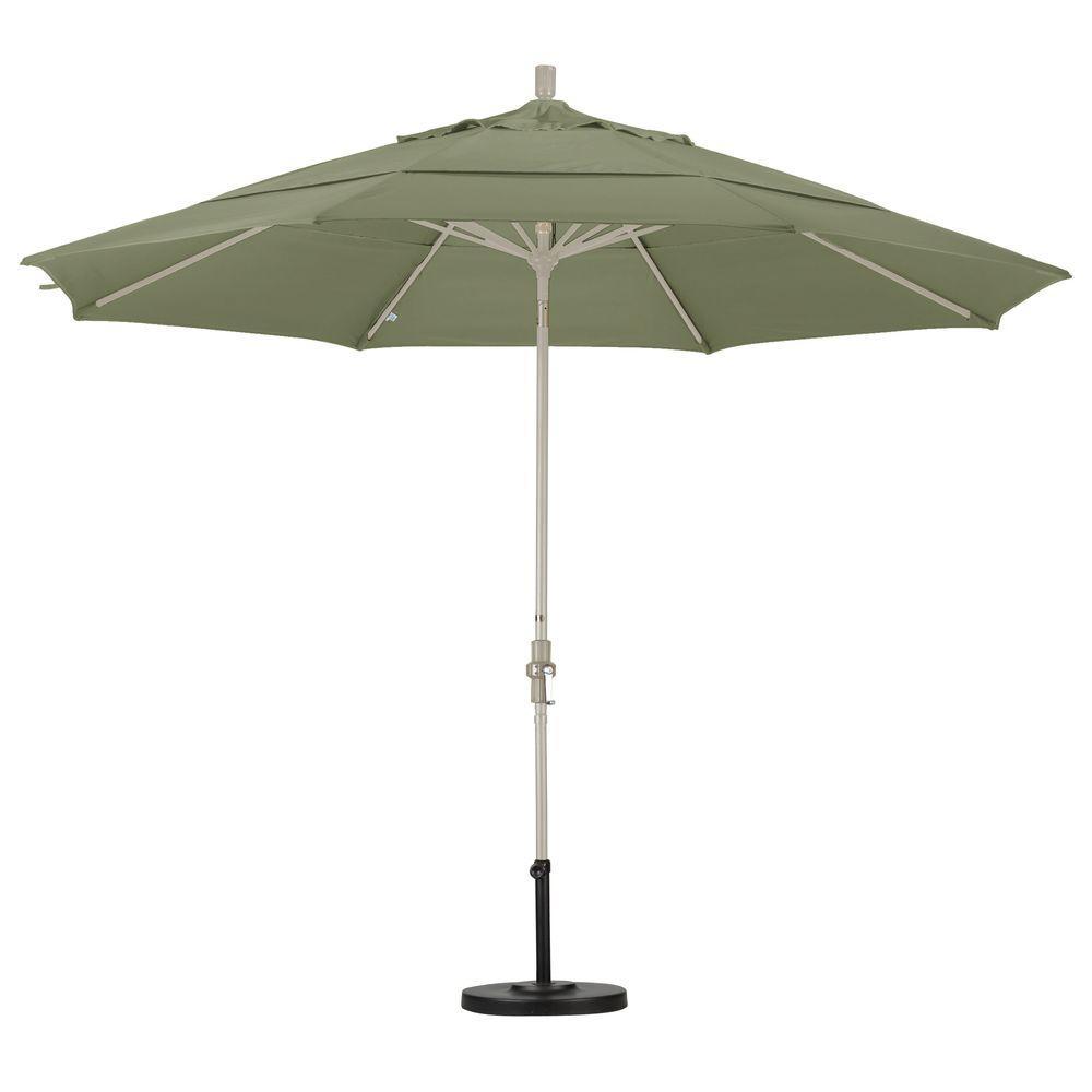 Aluminum Collar Tilt Double Vented Patio Umbrella In Taupe Pacifica
