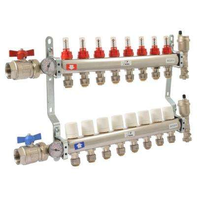 1 in. NPT Inlet x 1/2 in. Stainless Steel Push-Fit 8-Outlet Radiant Heating Manifold