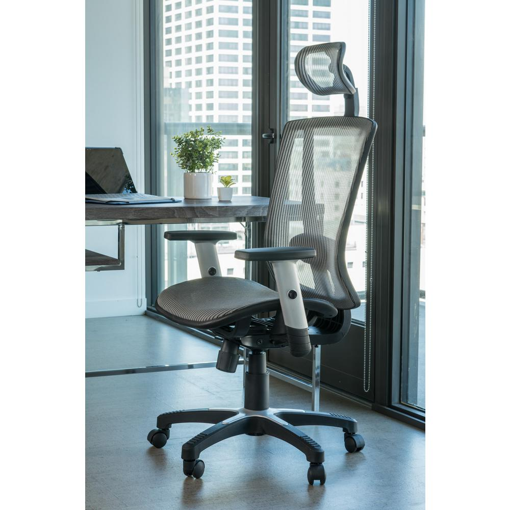 Canary Fully Meshed Ergo Grey Office Chair With Headrest