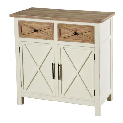 Quail Farm White and Natural 2-Door Cabinet