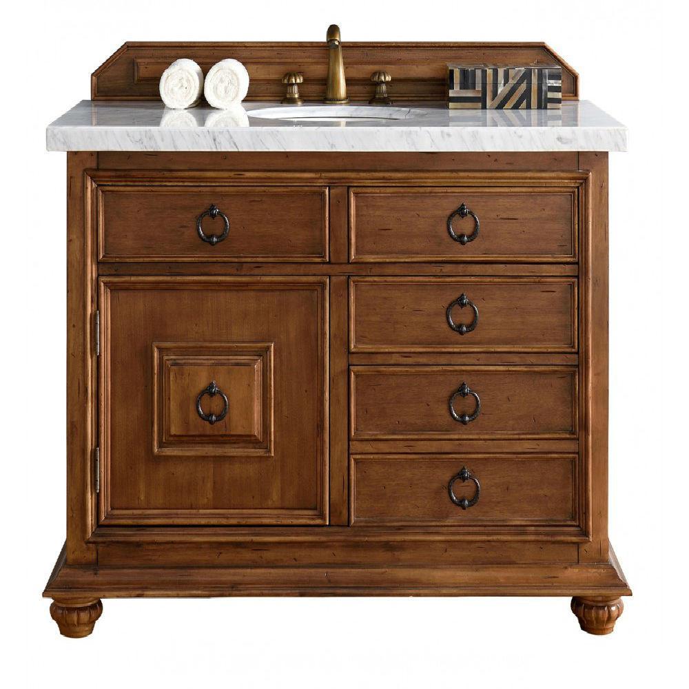 Single Vanity Cinnamon Marble Vanity Top White Basin
