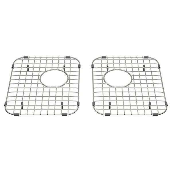 Quince 11-3/16 in. x 14-3/16 in. Double Bowl Kitchen Sink Grid in Stainless Steel (Set of 2)