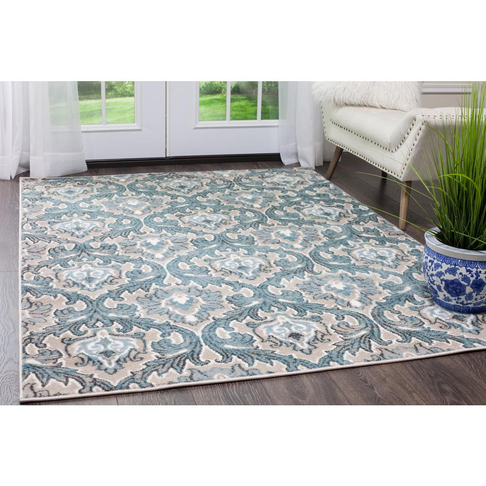 Famous Home Dynamix Oxford Blue/Cream 8 ft. x 10 ft. Indoor Area Rug-1  LB32