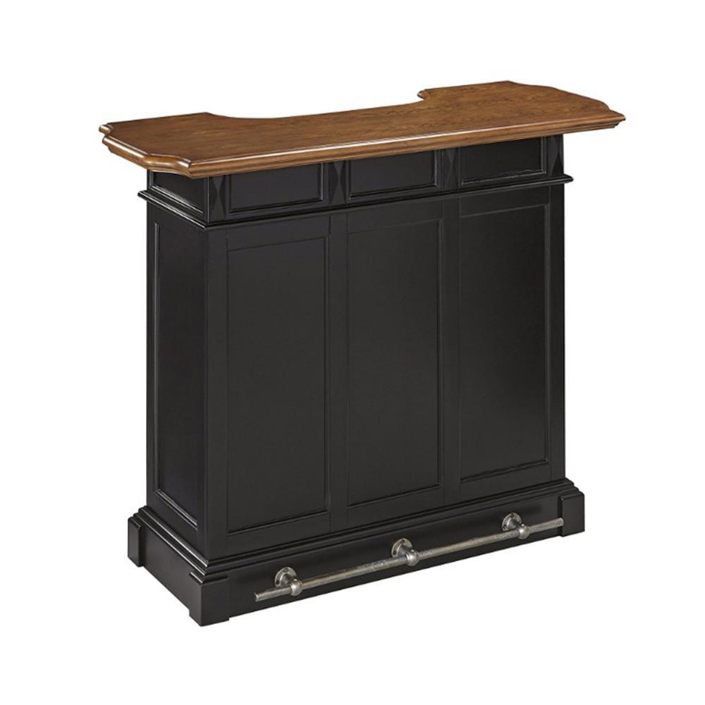 Americana 4-Shelf Black and Oak Bar with Foot Rail