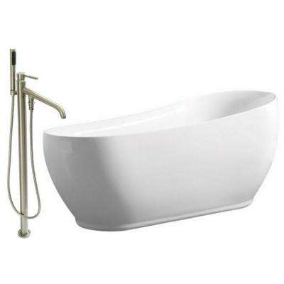 Modern 5.9 ft. Acrylic Flatbottom Bathtub in White and Freestanding Faucet in Satin Nickel