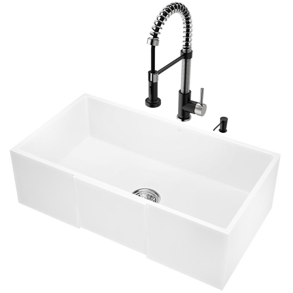 VIGO All-in-One 33 in. Matte Stone Single Bowl Undermount Kitchen Sink with  Pull Down Faucet in Matte Black & Soap Dispenser