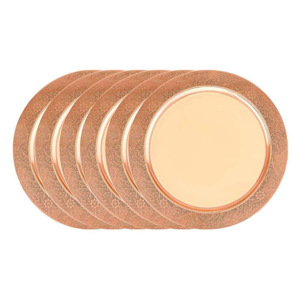 13 in. Decor Copper Etched Rim Charger Plate (Set of 6)