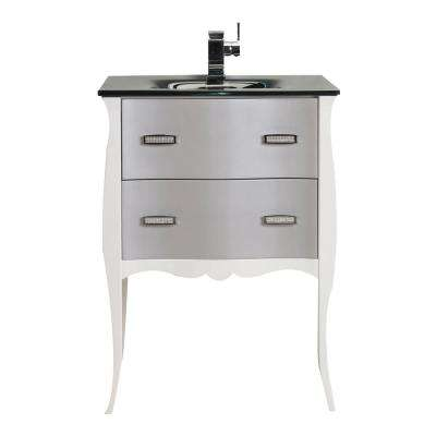 Aranjuez 24 in. W x 19 in. D x 34 in. H Vanity in White and Silver with Glass Top in White with White Basin