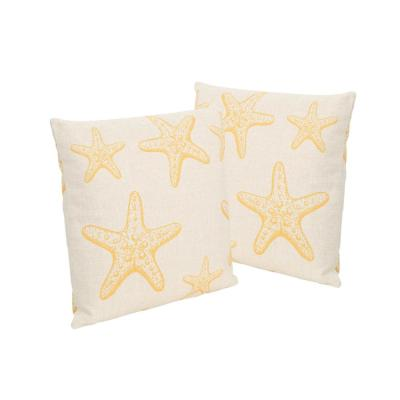 Starfish Beige and Orange Square Outdoor Throw Pillows (Set of 2)