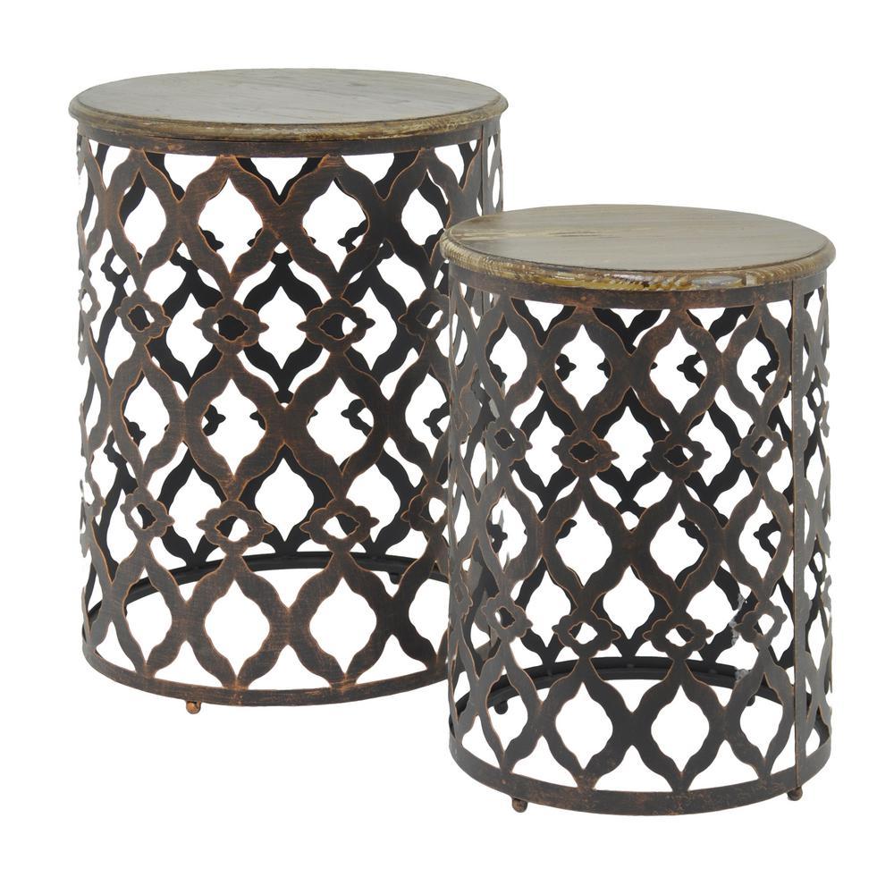 Metal/Wood Table (Set of 2)