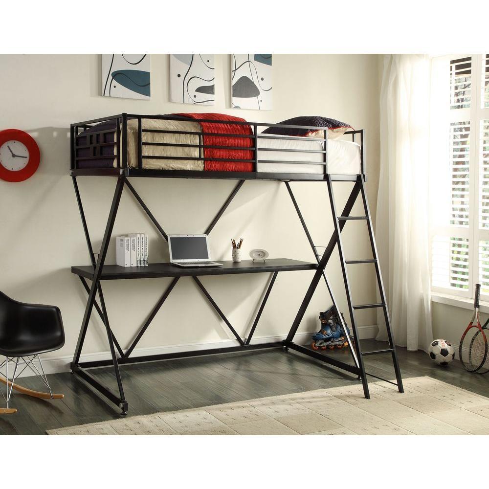 Zinnia Twin Metal Loft Bed