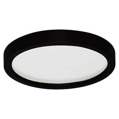 Round Slim Disk 7 in. Black Recessed Integrated LED Trim Kit Round Fixture 3000K Warm White New Construction