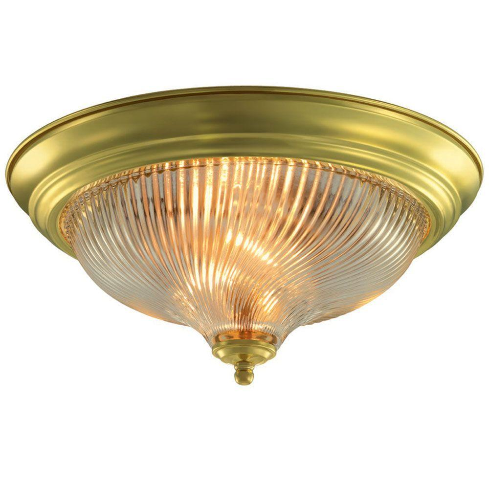 Hampton bay 13 in 2 light polished brass flushmount with frosted swirl glass shade