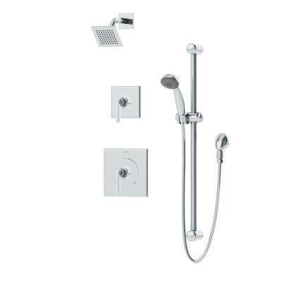 Duro 1-Spray Hand Shower and Shower Head Combo Kit with Square Shower Head in Chrome