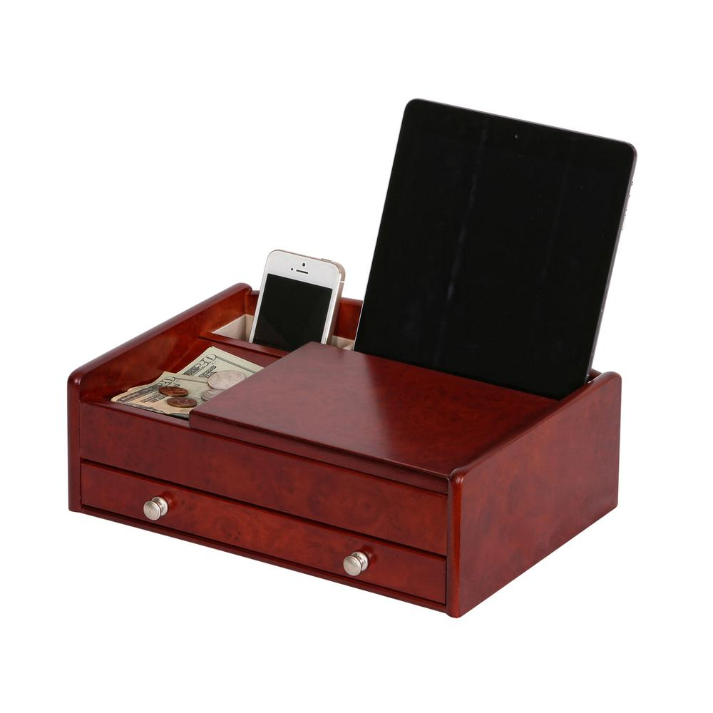 Davin Dark Burl-Wood Walnut Finish Wooden Valet Box