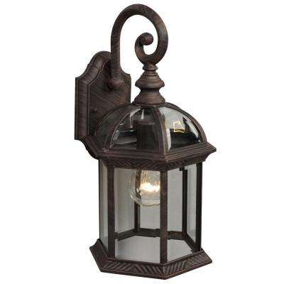 Negron 1-Light Outdoor Antique Rust Wall Lantern