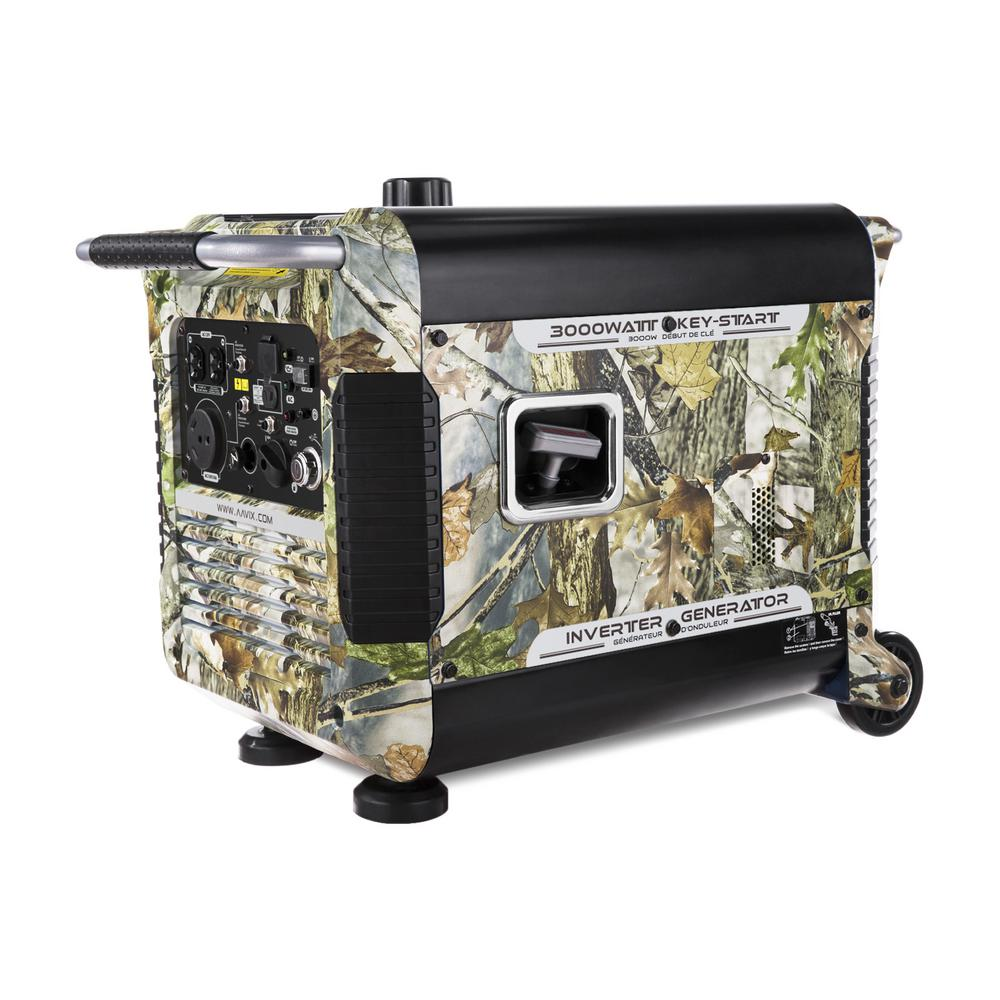 3,000-Watt Gasoline Powered Portable Camo Inverter Generator with Electric Start