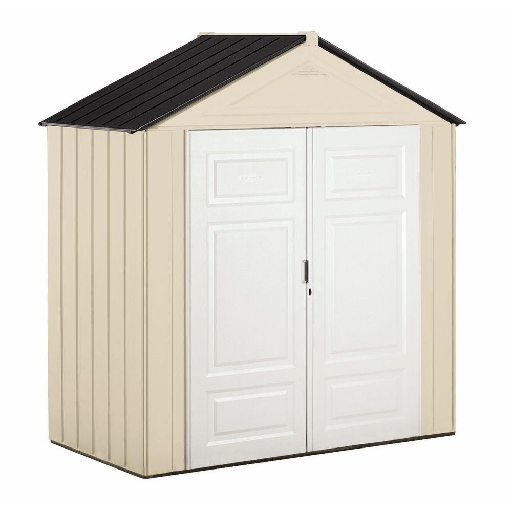 rubbermaid big max junior 3 ft 8 in x 7 ft 3 in resin storage shed 1862549 the home depot - Garden Sheds 6 X 3