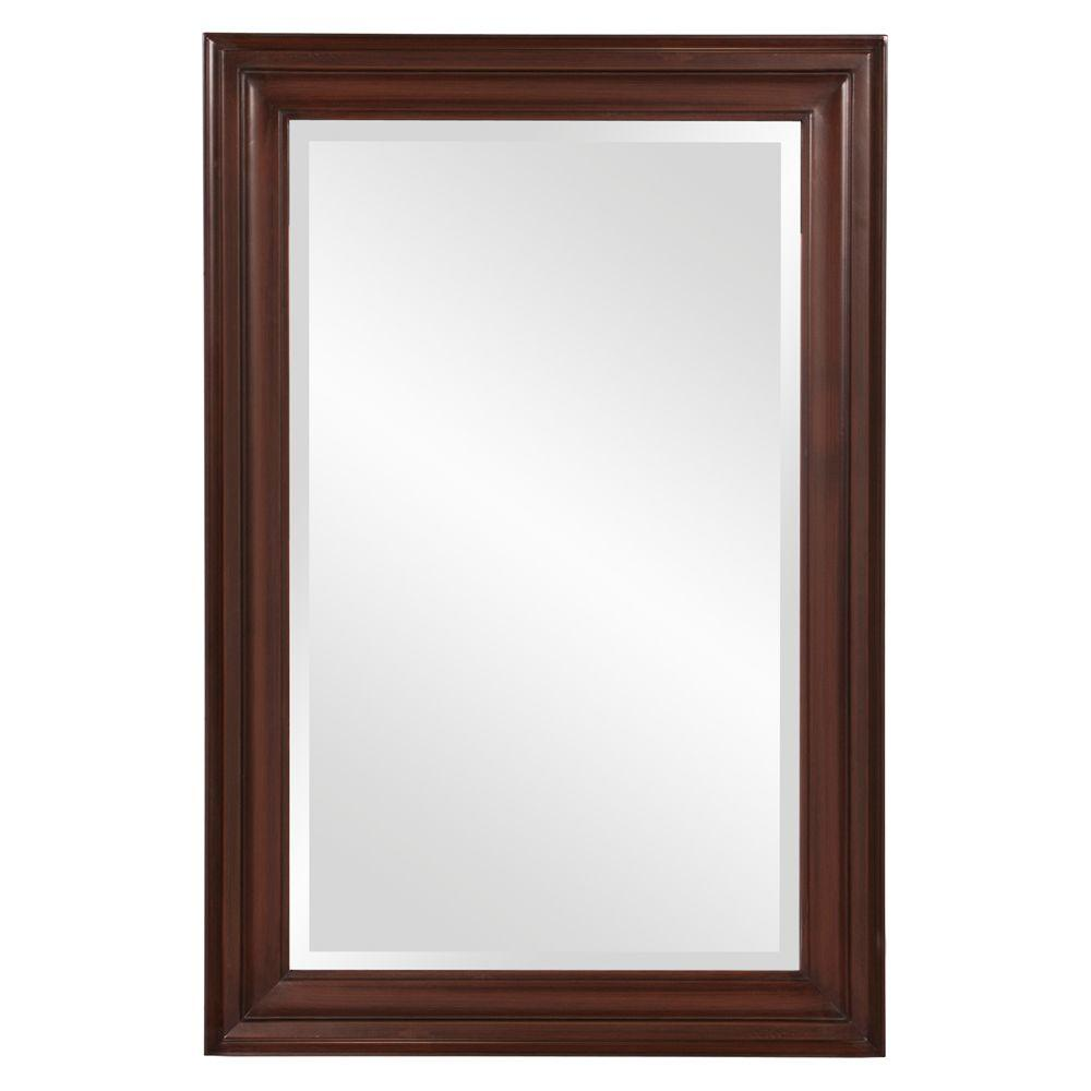 null 36 in. x 24 in. x 1 in. Wenge Brown Rectangular Vanity Framed Mirror