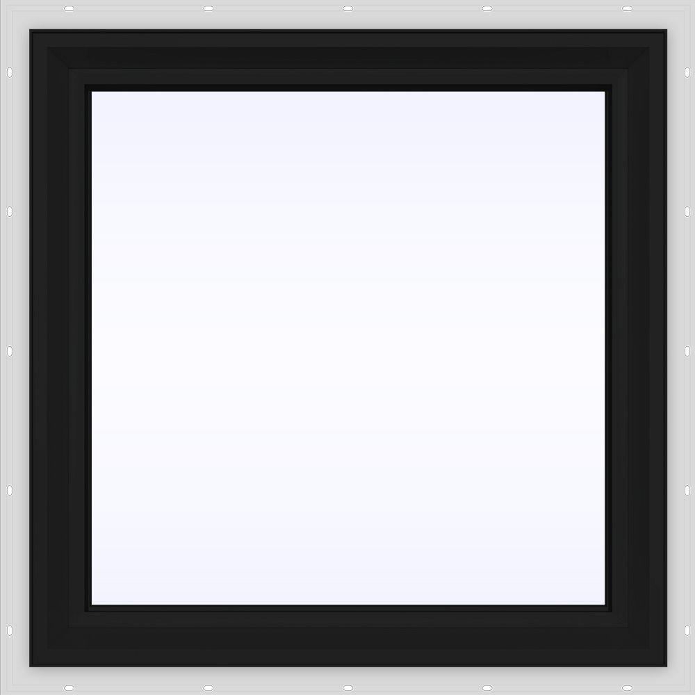 JELD-WEN 24 in  x 24 in  V-2500 Series Bronze FiniShield Vinyl Picture  Window w/ Low-E 366 Glass