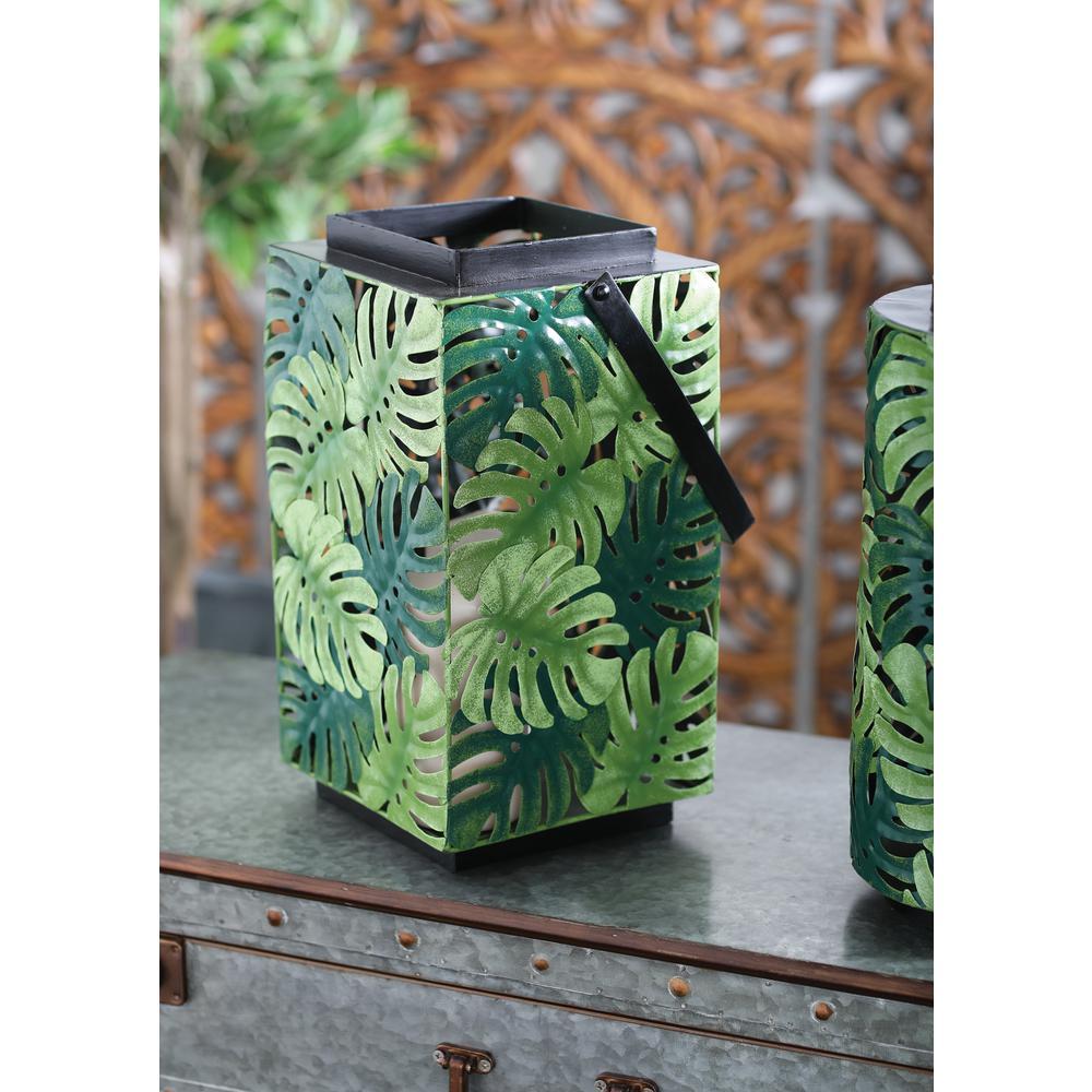 Green Pierced Leaf Design Cuboid Candle Lantern