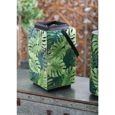 Green Pierced Leaf Design Cuboid Candle Lantern